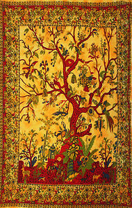 ORANGE-RED-WOVEN-TREE-OF-LIFE-BEDSPREAD-BED-SOFA-THROW-COVER-WALL-HANGING