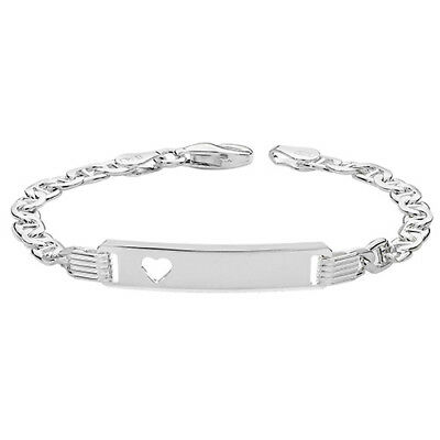 925 Sterling Silver Baby Child Engraved Christening Heart Expandable Bangle 5.5
