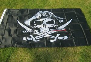 Large Pirate Flag (wearing hat) - 5ft x 3ft (Type C)