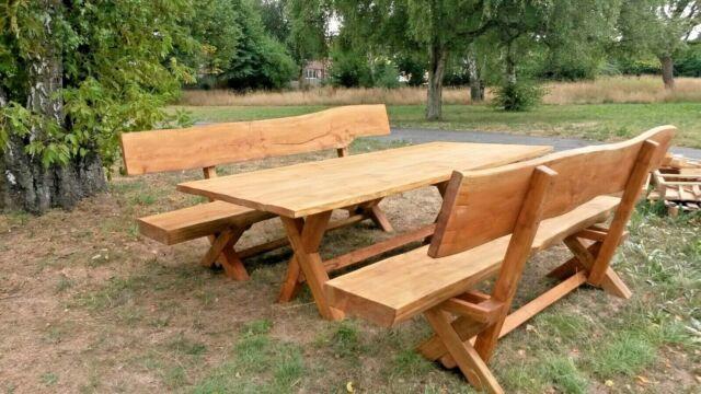 Massivholz Rustikal Bank Tisch Gartenmobel Garnitur Gatenbank Parkbank