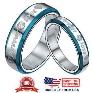 7a07383fbb Couple's Matching Promise Ring Forever Love Heart CZ His or Hers ...