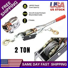 Us 2 Ton Wire Rope Come Along Tighter Heavy Duty Power Cable Puller 2 Hooks