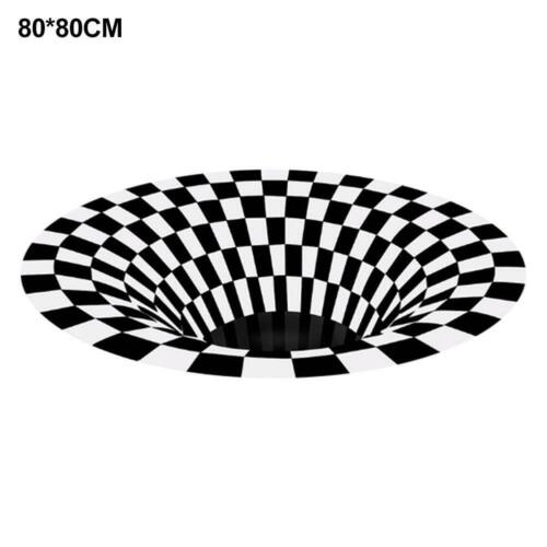3D Swirl Optical Illusion Bottomless Hole Area Rug Carpet Door Mats Non-slip