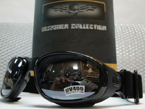 PADDED Biker MOTORCYCLE RIDING GLASSES GOGGLES With Strap Black Frame Dark Lens