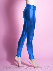 fa8898b83c837 Image is loading Metallic-Blue-Shiny-Spandex-Leggings-High-Waisted-Chrome-