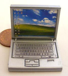 Escala 1:12 Plata Metal no computadora Laptop de apertura de trabajo tumdee Casa De Muñecas