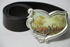Authentic D Squared Leather Belt with Rare Hunting Scene Buckle Size M