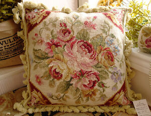 16-034-Hand-Stitched-Wool-French-Country-Shabby-Red-Ivory-Needlepoint-Pillow