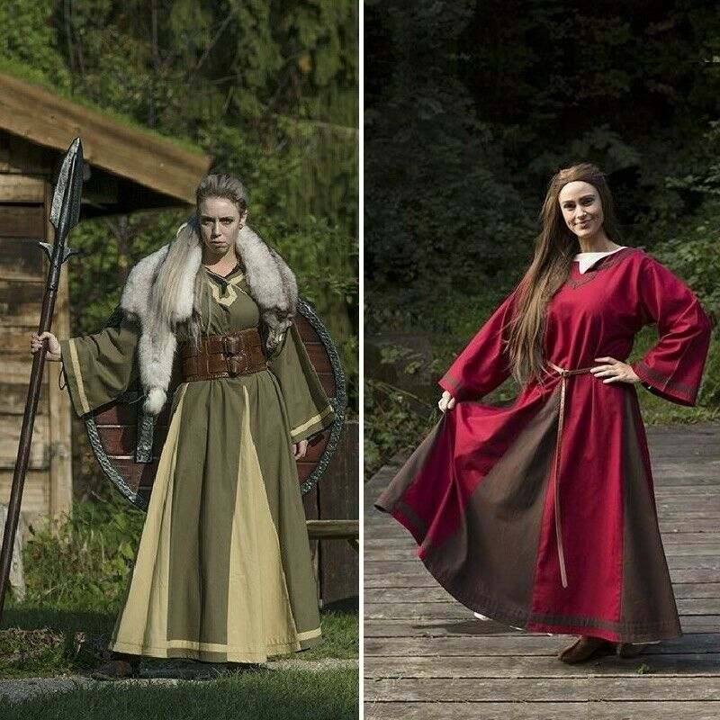 Astrid Coloured Inlay Dress in Heavy Cotton for Costume, Re-enactment & LARP