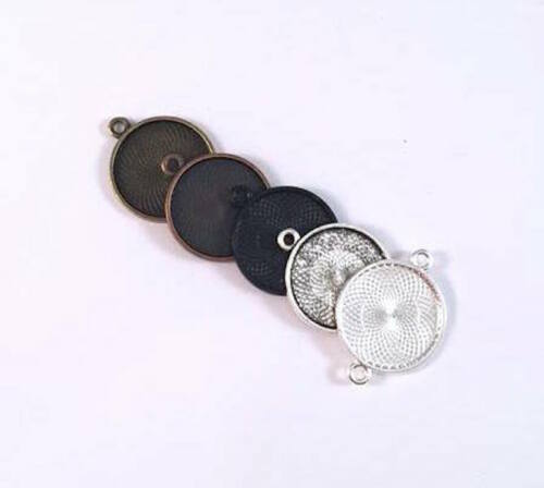 Round Connector Pendant trays 1 inch 25mm you choose colors