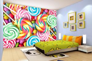 3D colorful Lollipop 7 Wall Paper Murals Wall Print Wall Wallpaper Mural AU Kyra