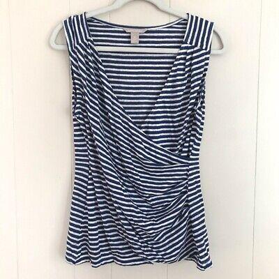 Women/'s Sleeveless  Striped Wrap Top
