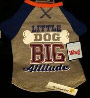 Simply Wag little Dog Big Attitude Tank Dog Top Shirt Sz S Grey/orange/blue
