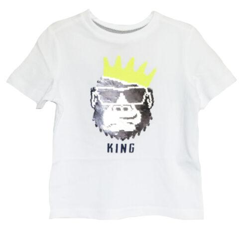 Oliver giovani a maniche corte shirt//T-shirt con motivo King svolta paillettes in bianco S