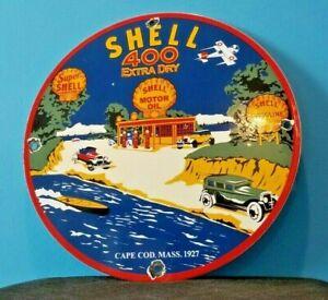 VINTAGE-SHELL-GASOLINE-PORCELAIN-GAS-OIL-SERVICE-MASSACHUSETTS-STATION-PUMP-SIGN