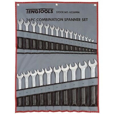 Teng 6526MM 26pc Metric 6-32mm Combination Wrench Spanner Set in a Tool Roll