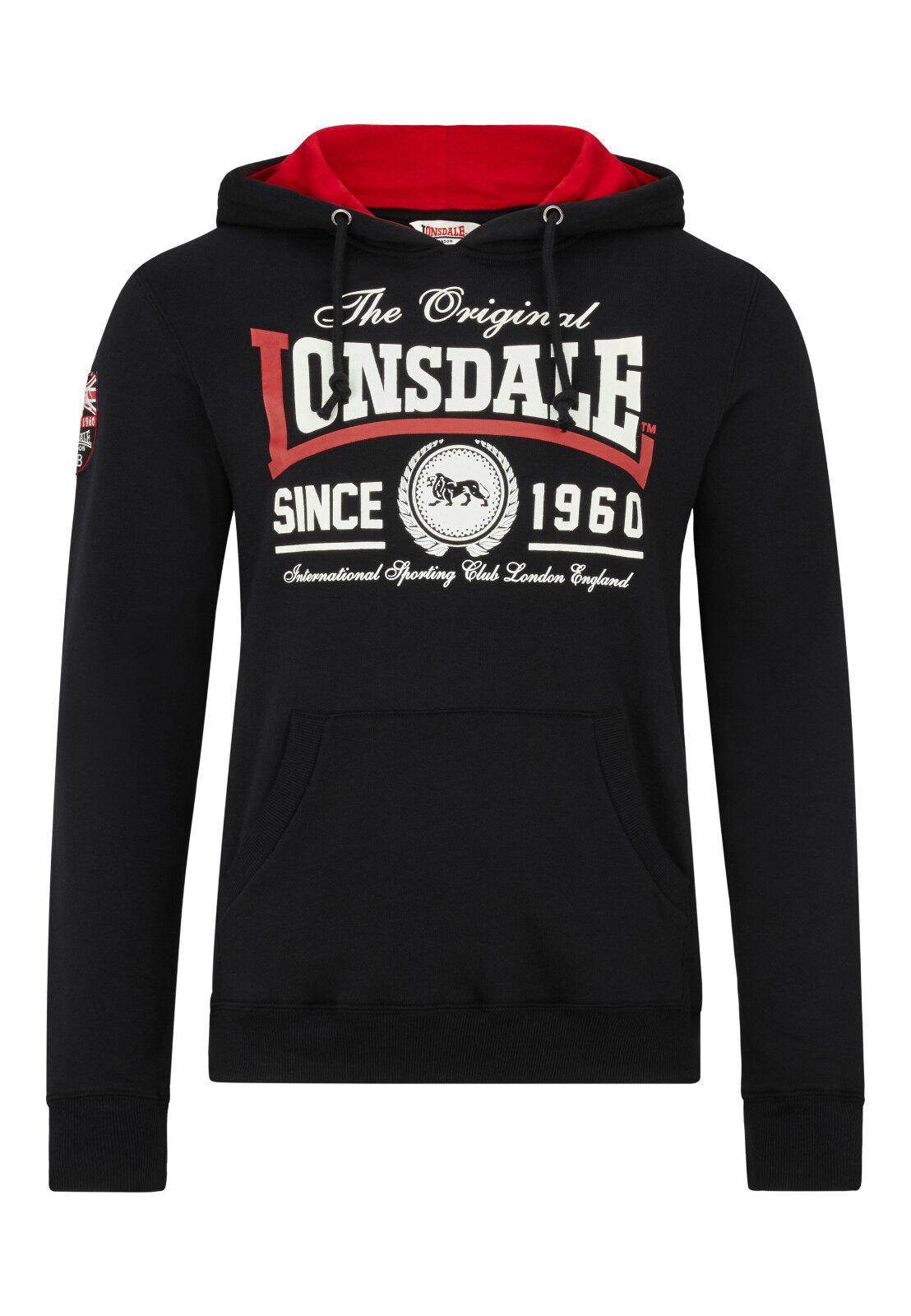 Lonsdale- Hoodie  Wells Wells Wells  M-XL. schwarz. Pullover. Sweatshirt.Boxen.Lifestyle e62430