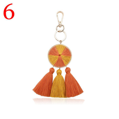 Colorful Pompom Keychain Long Tassel Key Ring Ball Pendant Bohemian Key Chain