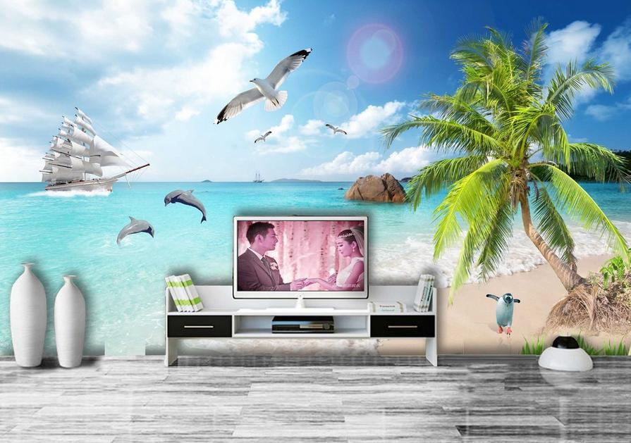 3D Penguin Sea 493 Wallpaper Murals Wall Print Wallpaper Mural AJ WALL UK Carly