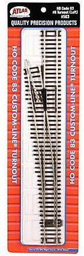 ATLAS MODEL RAILROAD HO SCALE CODE 83 #6 LEFT TURNOUT 1 PC NEW 563