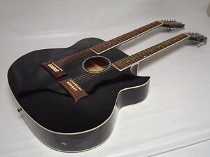 new 6 12 string acoustic electric double neck guitar cutaway black w gig bag ebay. Black Bedroom Furniture Sets. Home Design Ideas