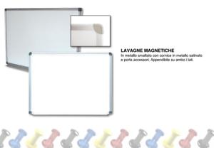 Lavagna Bacheca Bianca Magnetica 60x90 cm Cornice in Metallo Satinato