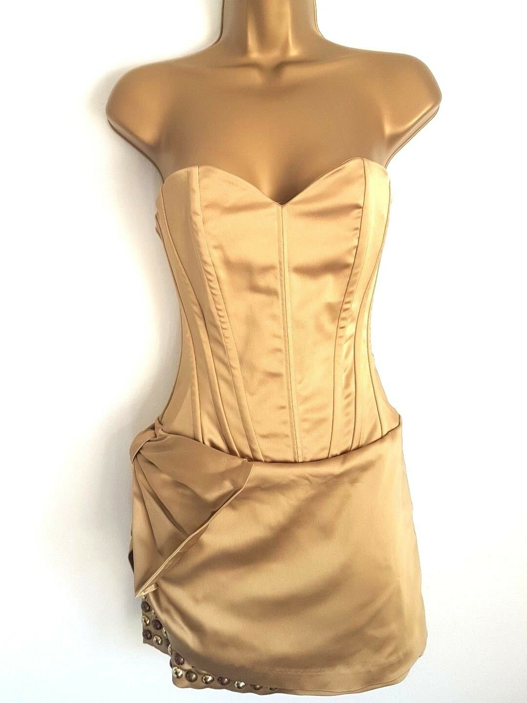 MANOUSH beautiful Robe Bustier Punky gold dress with studs size 36 New RRP 490 £