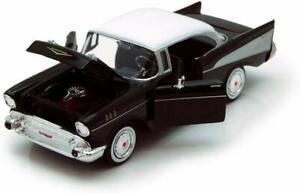 Chevrolet-Bel-Air-1957-1-24-escala-Diecast-Coche-de-Juguete-Modelo-Die-Cast-De-Coleccion-Negro