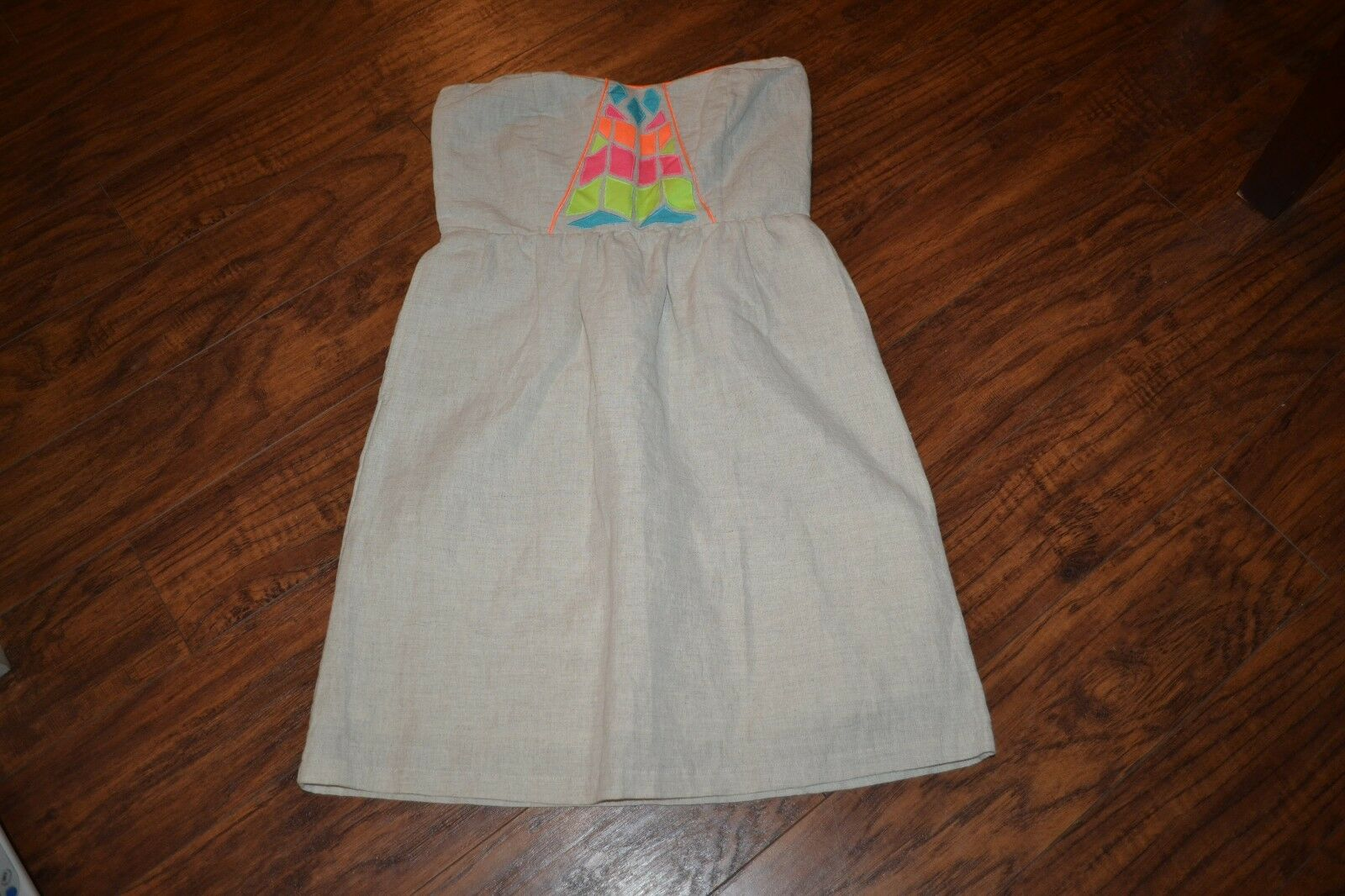 B38- Judith March Strapless Cotton/Linen Dress Size Small