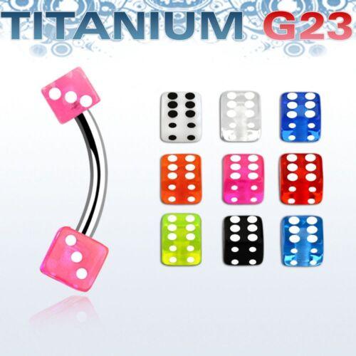 Titan Bauchnabel Piercing Acryl UV Optik Transparent 1,6x12mm Würfel Ø 4 x 8mm