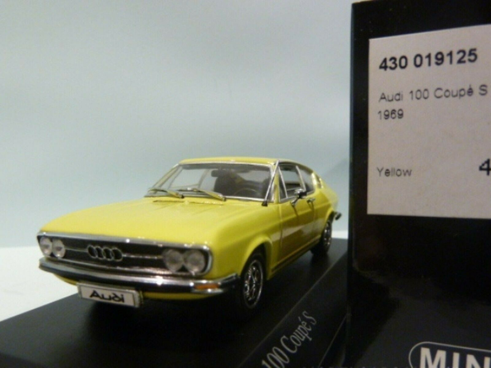 WOW EXTREMELY RARE Audi 100 C1 1.9L I4 Coupe S 1969 Yellow 1 43 Minichamps-50 80