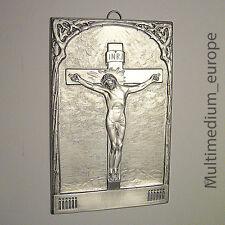 Jugendstil Wandbild Messing versilbert Jesus am Kreuz