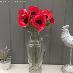 Bunch of Red Artificial ANEMONE 10 Stems,10 Faux Silk Flowers,Home,Wedding
