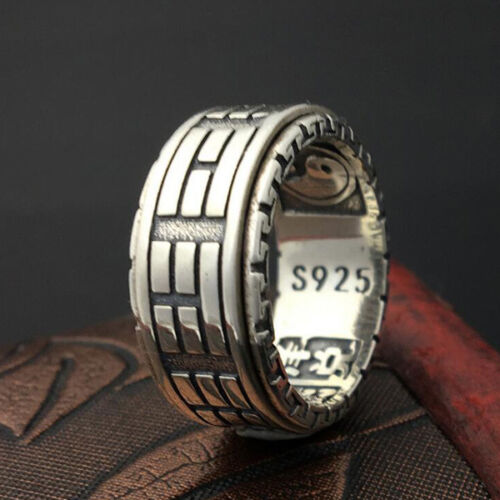 Solid 925 Sterling Thai Silver Forefinger Ring 8-Trigrams Man//Woman Size 7-11
