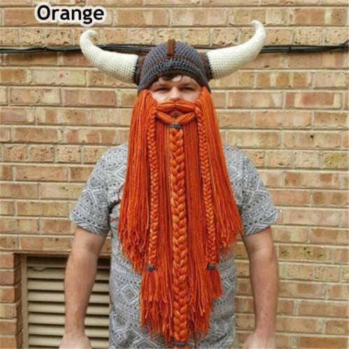 Funny  Mask Barbarian Vagabond Beanie Long Beard Viking Horn Hat Crazy Ski Cap