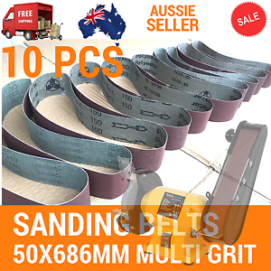 10x Sanding Belts 50x686mm Cloth Backed Mixed Grit