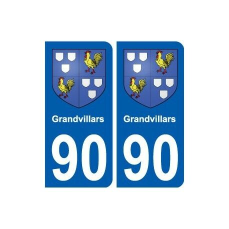 90 Grandvillars  blason autocollant plaque stickers ville droits