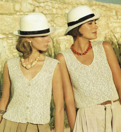 woman/'s knitting pattern Summer top Twin set. Lady/'s rib vest and waistcoat
