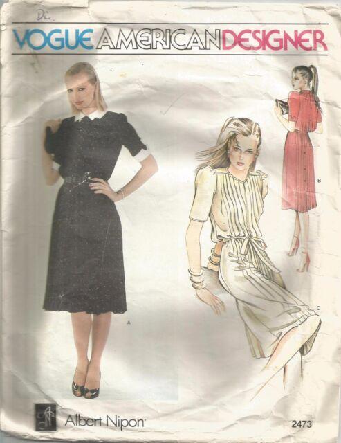 Vogue DESIGNER Sewing Pattern 2473 Albert Nipon Dress and Belt Size ...