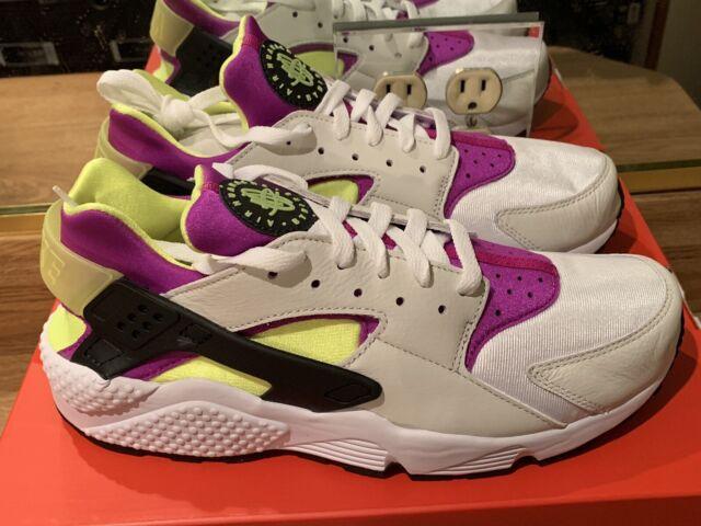 competitive price 648b4 413f3 Nike Air Huarache Run 91 QS Ah8049-101 Men's Size 10 White Black Neon Yellow