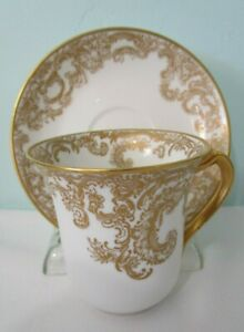 Haviland Limoges Gilt Floral Lace Pattern White China Demitasse Cup Saucer EUC