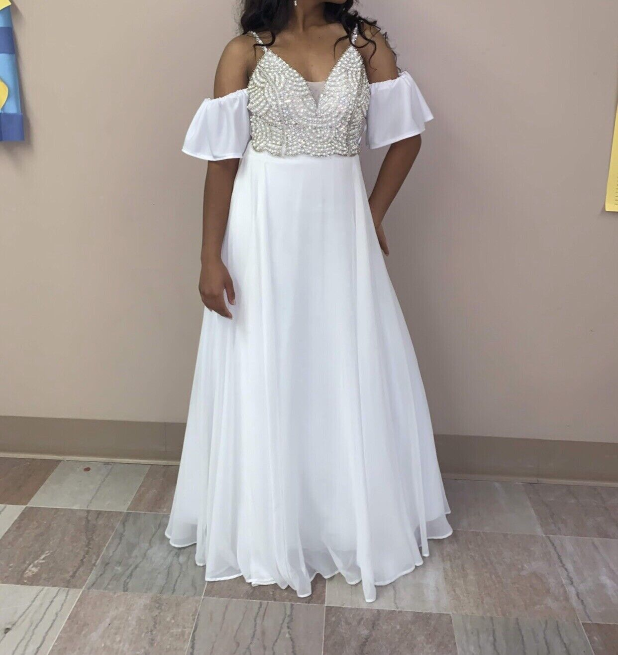 White pearl ball gown - image 2