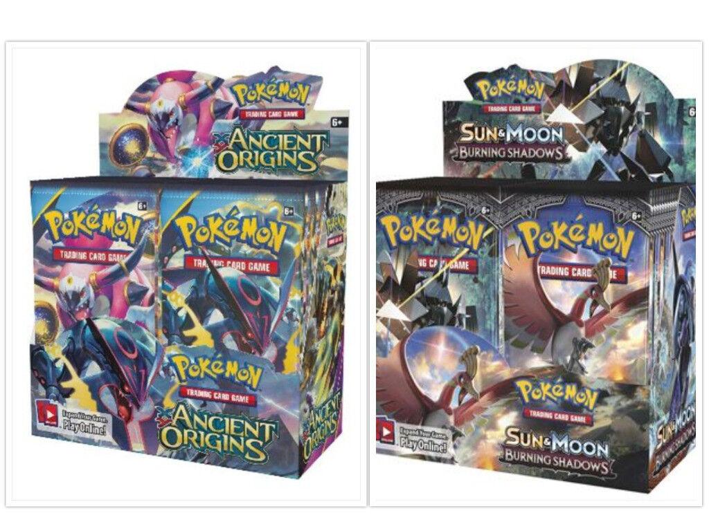 Pokemon TCG Ancient Origins + + + Sun & Moon Burning Shadows Booster Boxes Sealed 162e8c