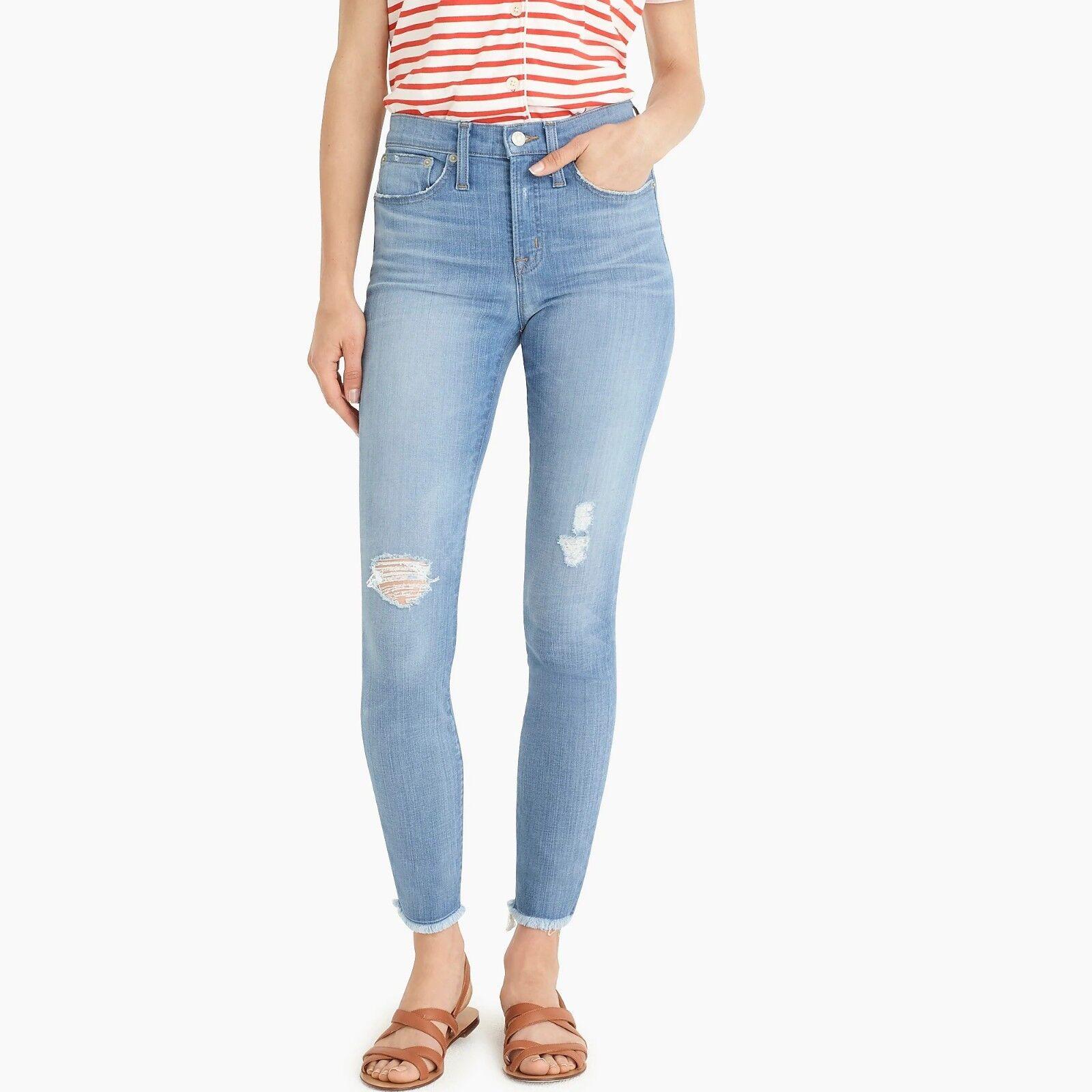 J. Crew Women's Tall 9  High-Rise Skinny Jean in Light bluee w  Raw Hems - T31