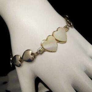 Vintage-Mother-of-Pearl-MOP-Sweet-Heart-Love-Links-Bracelet-Small-Wrist