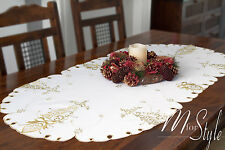 Christmas Embroidered Table Runner White Xmas Tree Gold Pattern Oval