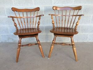 ETHAN ALLEN PAIR OF SWIVEL MAPLE COMB BACK WINDSOR CHAIRS