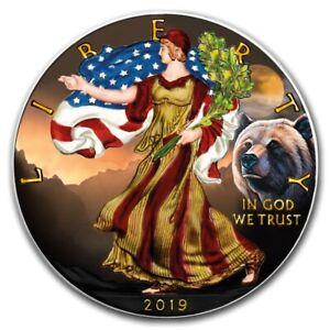 2019 Amerikanischer Adler Silber Grizzly 1 Oz Farbe Gefärbten Prägung 100 Pcs Ausreichende Versorgung