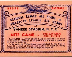 1948 NEGRO LEAGUE ALL STAR GAME PROGRAM PHOTO PLAYED AT YANKEE
