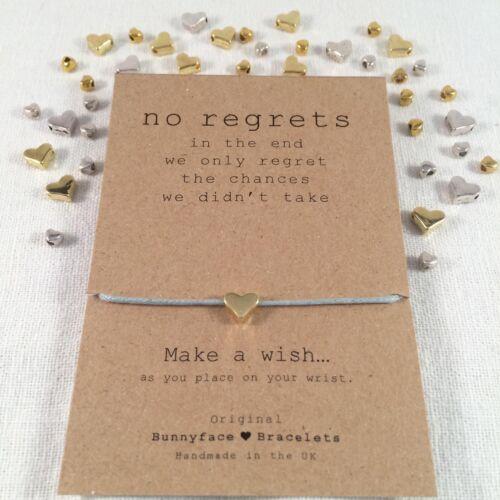*No Regrets Wish Bracelet*Friendship Card Birthday Inspirational Quotes